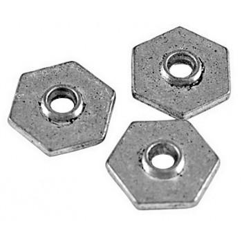 Lot de 10 coupelles hexagonales plates couleur argent tibetain-8mm