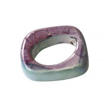 Perle intercalaire ceramique bleu vert et violet-18mm