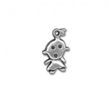 Pampille bebe fille en metal placage argent-21mm