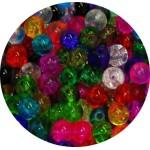 Lot de 100 Perles verre rondes craquelees-4mm