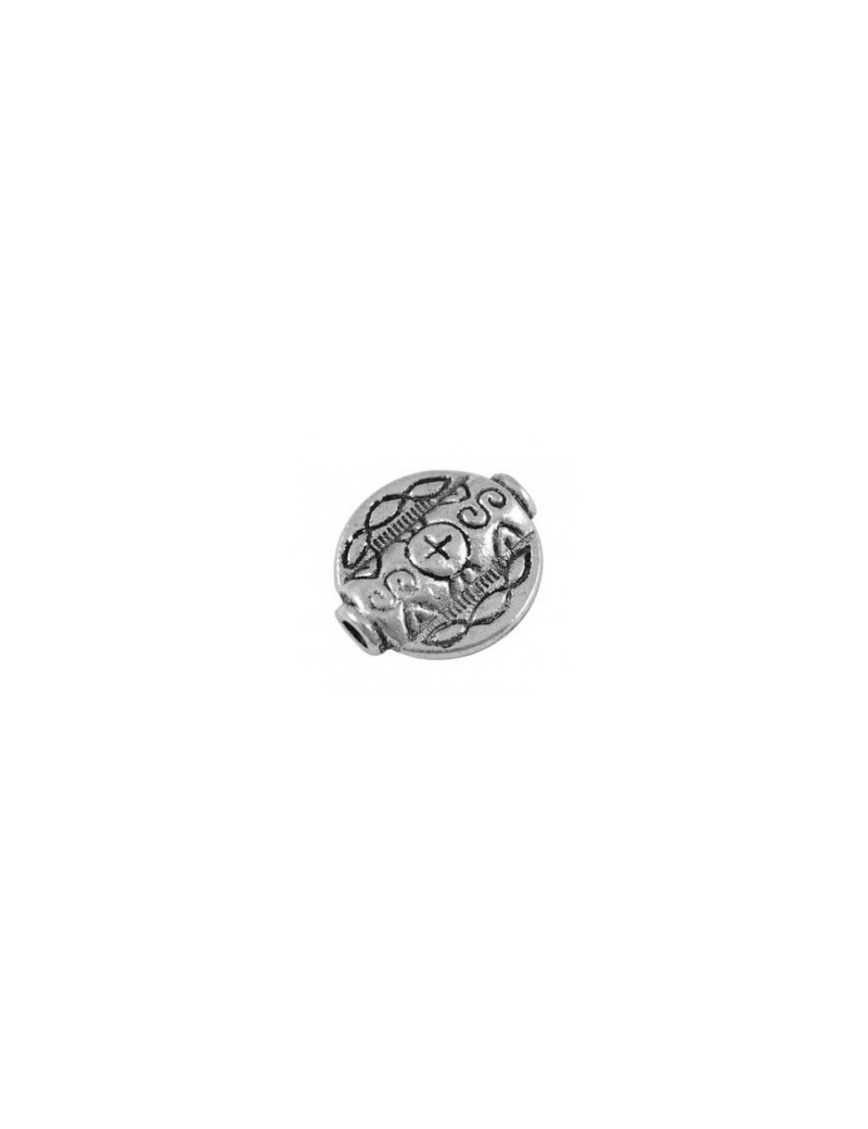 Perle plate ronde en metal couleur argent tibetain sans plomb-18mm