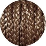 Cordon de cuir plat tresse 5mm marron foncé vendu au mètre