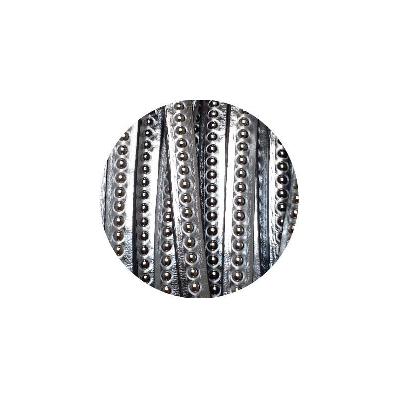 cordon de cuir plat 6mm effet miroir argent billes vendu au m. Black Bedroom Furniture Sets. Home Design Ideas