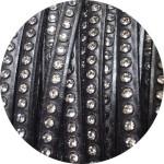 Cordon de cuir plat 6mm noir strass vendu au metre