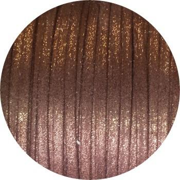 Lacet fantaisie plat 3mm nacré couleur bronze
