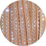 Cordon de cuir plat 6mm naturel strass vendu au metre