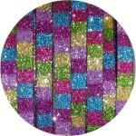 Cordon de cuir plat paillettes 6mm disco carrés multicolore foncé-vente au cm