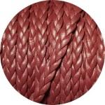 Cordon de cuir plat tresse 5mm bordeaux vendu au mètre
