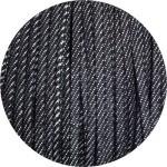 Lacet fantaisie plat de 3mm en jeans denim noir