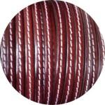 Cuir plat 5mm marron cognac couture blanche vendu au mètre