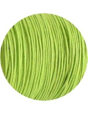Cordon de coton cire rond vert anis de 1mm