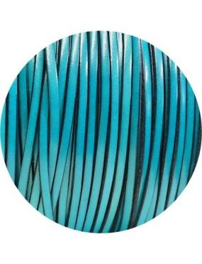 Cuir plat lisse de 3mm bleu turquoise en vente au cm